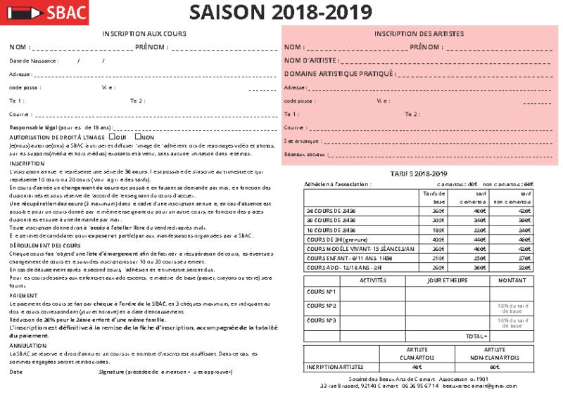fiche inscription 2018-2019