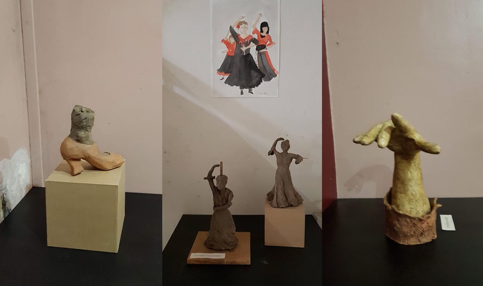 Il s'agit de 2 petites sculptures et d'un dessin représentant des femmes qui dansent le flamenco faite par un élève de la Sbac