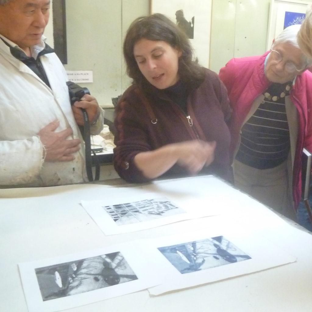 visite de l'atelier rigall avec Marie-clementine mares professeur de gravure a la sbac clamart