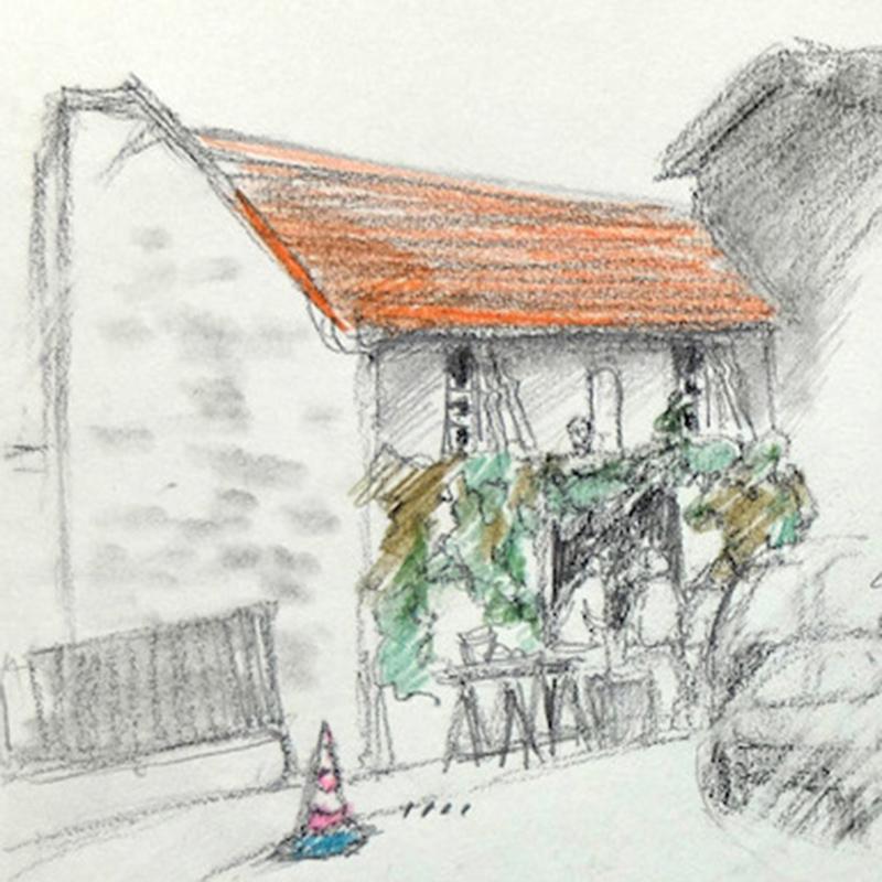 dessin,vigne,jardin,annick Bougerolle,