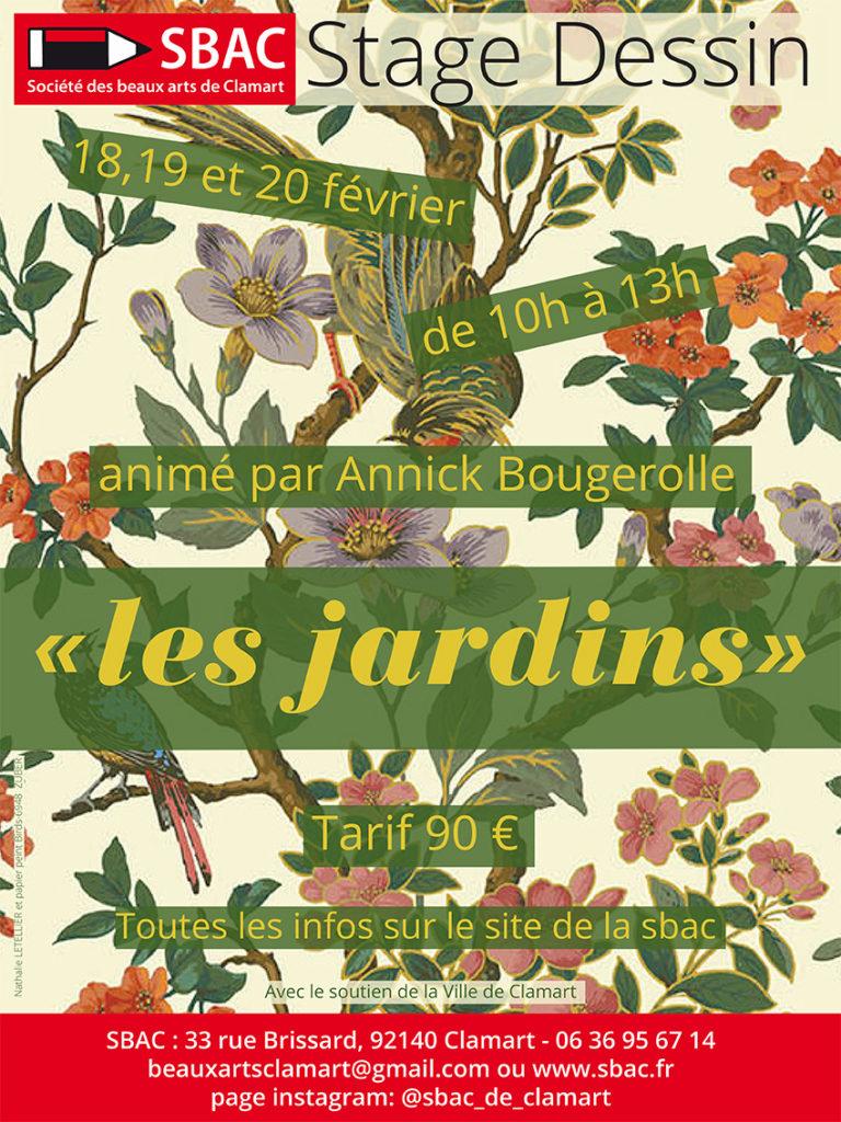 stage pour dessiner des jardins anime par Annick Bougerolle en fevrier à la sbac clamart